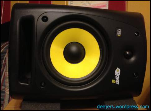 KRK Rokit reference monitor, side-mounted.
