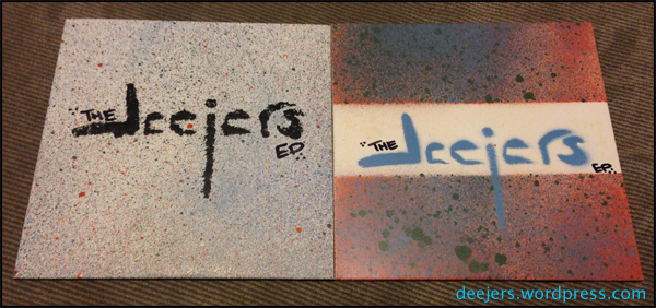 The deejersEP album art created with many different colors of spray paint.